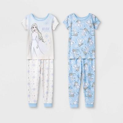 Toddler Girls' 4pc Frozen Snug Fit Pajama Set - Blue