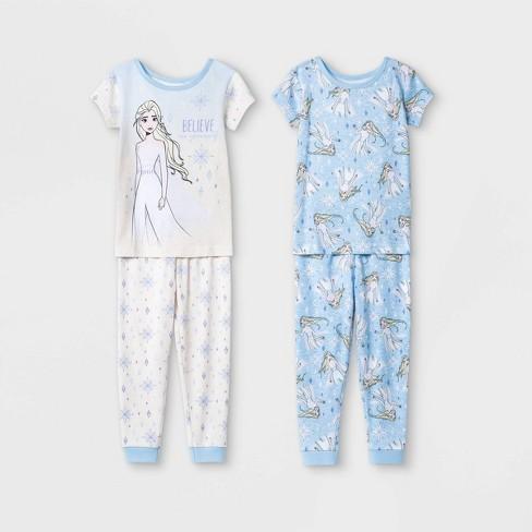 Toddler Girls' 4pc Frozen Snug Fit Pajama Set - Blue - image 1 of 1