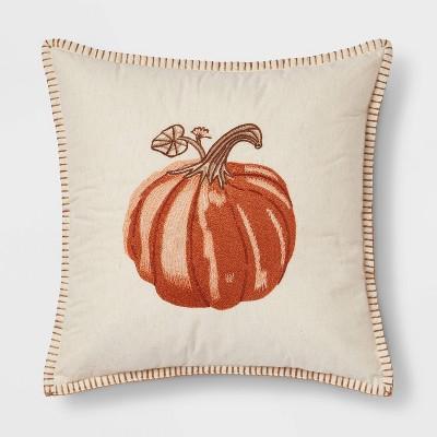 Embroidered Pumpkin Square Throw Pillow Neutral/Orange - Threshold™