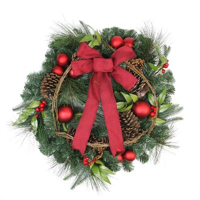 """Northlight 24"""" Unlit Pine with Red Ball Ornaments and Pine Cones Artificial Christmas Wreath"""