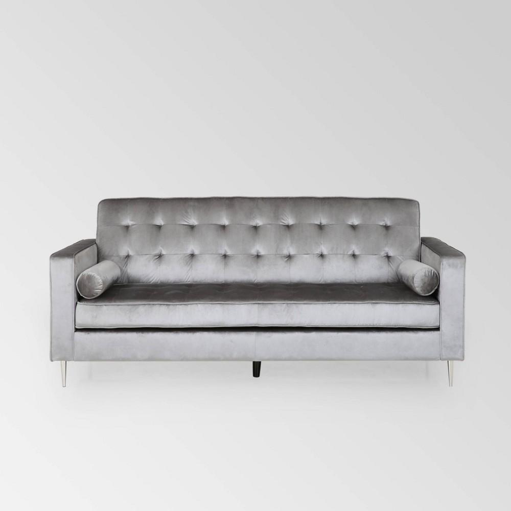 Image of Poynes Modern Glam Tufted Velvet Sofa Light Gray - Christopher Knight Home