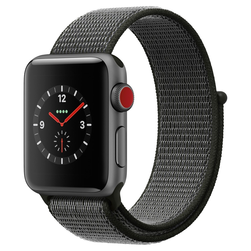 Apple Watch Series 3 38mm (Gps + Cellular) Aluminum Case Nylon Sport Loop Band - Dark Olive, Gray Answer a call from your surfboard. Ask Siri to send a message. Stream your favorite songs on your run. And do it all while leaving your phone behind. Introducing Apple Watch Series 3 with cellular. Now you have the freedom to go with just your watch. Color: Gray. Material: Nylon.