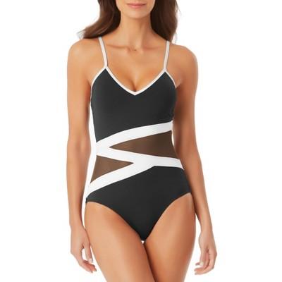 Anne Cole - Women's Colorblock Mesh One Piece Swimsuit