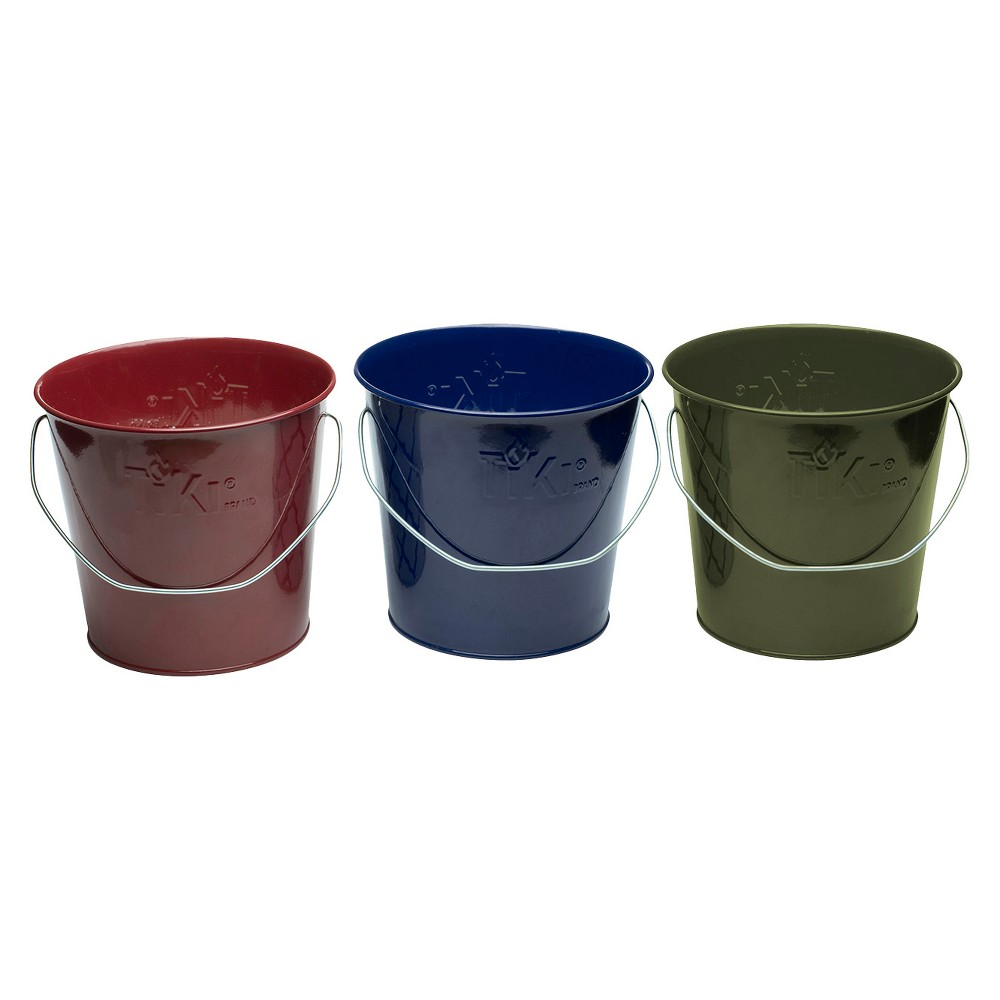 Image of 17oz. 3pk Wax Bucket Candle Lavish Woodland Navy/Green/Burgundy - TIKI