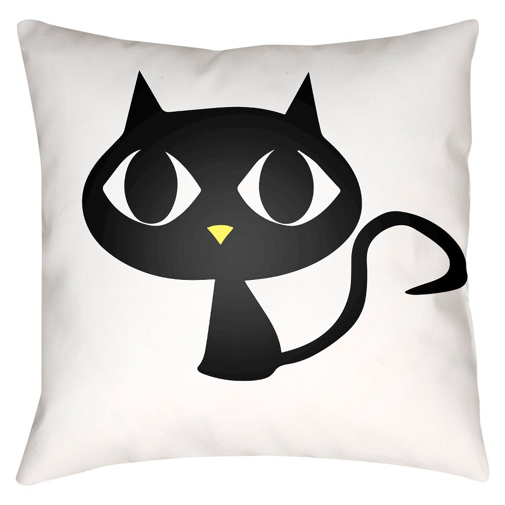 White Black Cat Throw Pillow 18