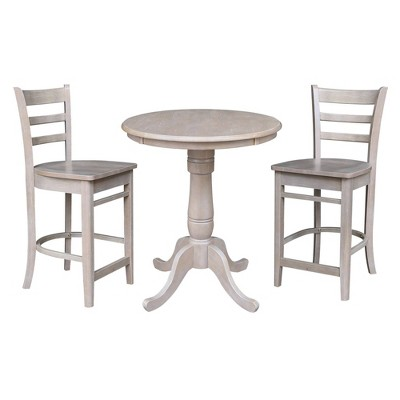 """30"""" Brian Round Pedestal Counter Height Dining Set with 2 Emily Stools - International Concepts"""