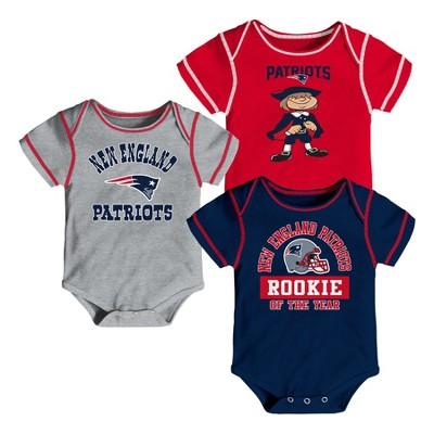 New England Patriots Boys' Newest Fan 3pk Bodysuit Set 0-3 M