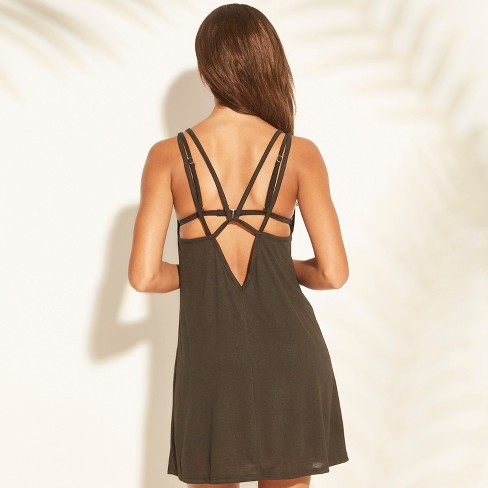 ff8ee531ef Women's Strappy Graphic Tank Cover Up - Xhilaration™ Black : Target