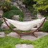 Vivere 8ft Double Cotton Hammock with Solid Pine Arc Stand - image 2 of 4
