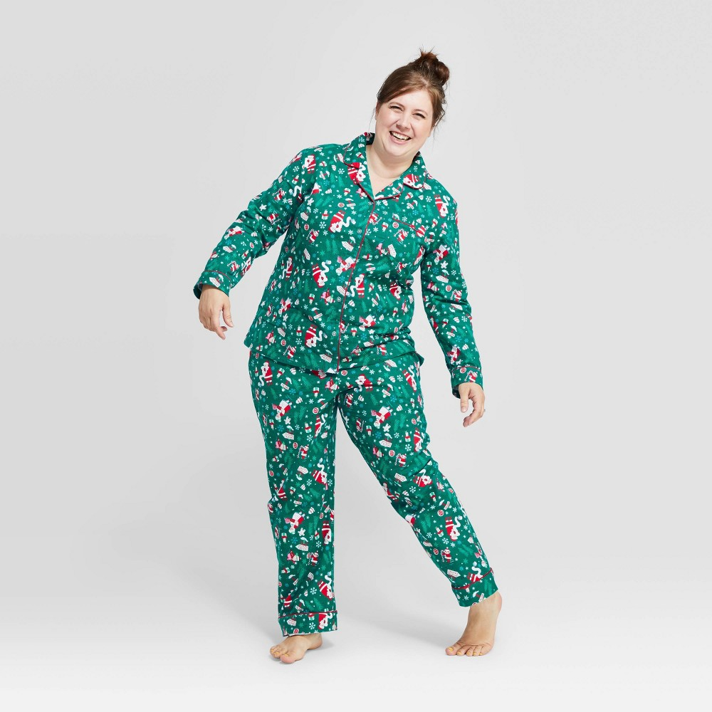 Image of Women's Holiday Santa's List Pajama Set - Green XS