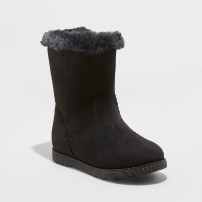 Toddler Girls' Leah Zipper Slip-On Shearling Style Winter Boots - Cat & Jack™