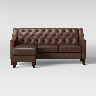 Felton Reversible Chaise Sofa Faux Leather Espresso - Threshold™