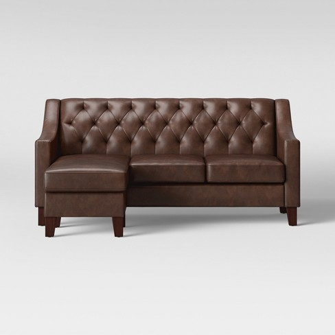 Felton Reversible Chaise Sofa Faux Leather Espresso - Threshold™ - image 1 of 5