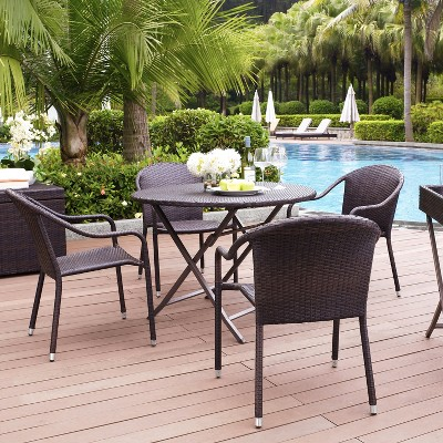 Bon Palm Harbor 5 Piece Wicker Patio Dining Furniture Set : Target