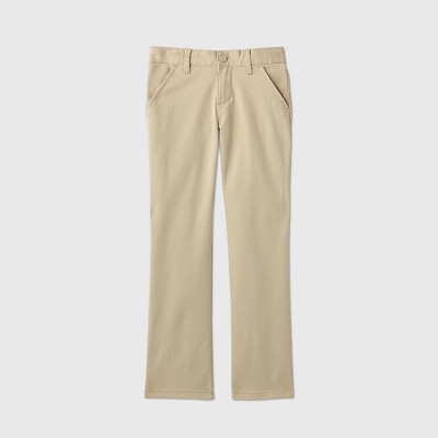 Girls' Flat Front Stretch Uniform Straight Fit Chino Pants - Cat & Jack™ Beige