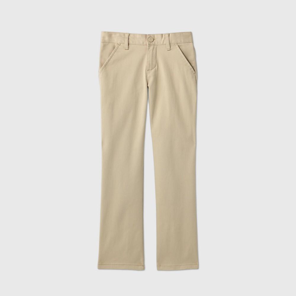 Girls 39 Flat Front Stretch Uniform Straight Fit Chino Pants Cat 38 Jack 8482 Beige 7 Slim