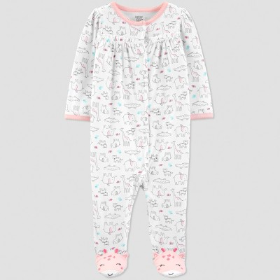 Baby Girls' Safari Sleep 'N Play - Just One You® made by carter's Pink/White 6M