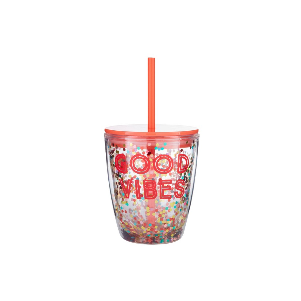 "Image of ""Parker Lane 10oz Double Wall Tumbler """"Good Vibes"""" Coral"""
