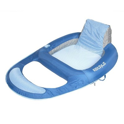 Kelsyus Floating Pool Lounger Inflatable Chair w/ Cup Holder, Blue   80014