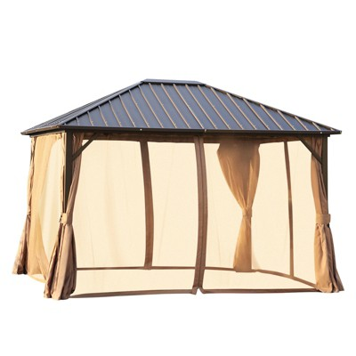 Outsunny 10' x 12' Outdoor Hardtop Gazebo Steel Roof Patio Gazebo with Aluminum Frame Mesh Nettings Curtains & Roomy Interior Space Brown