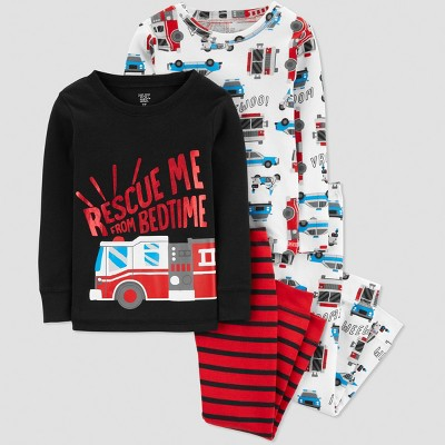 Toddler Boys' 4pc Rescue Me Bedtime Pajama Set - Just One You® made by carter's Red 3T
