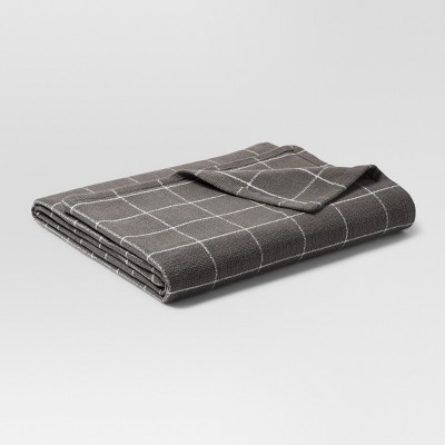 Soft Textured Blanket (Twin)Window Pane Pattern Gray & White - Threshold™