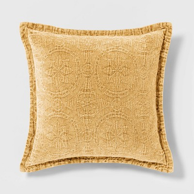 Washed Chenille Square Pillow Yellow - Threshold™