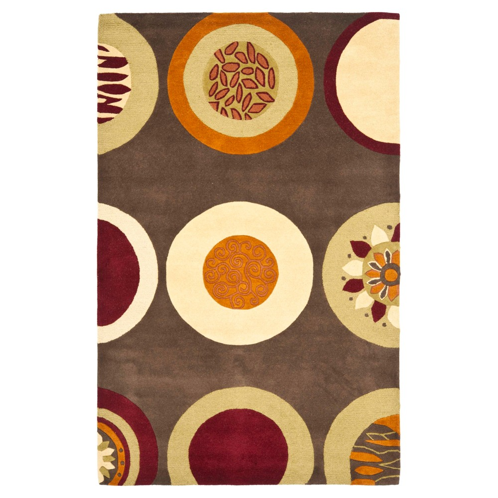 Brown/Multi Abstract Tufted Area Rug - (5'x8') - Safavieh