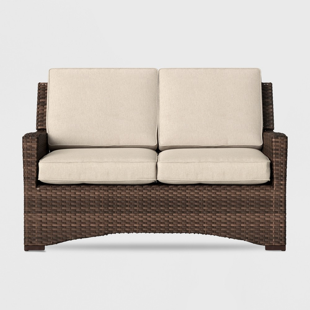 Halsted Wicker Patio Loveseat - Tan - Threshold