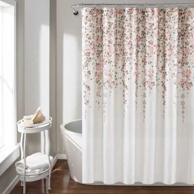 Weeping Flower Shower Curtain Blush/Gray - Lush Décor