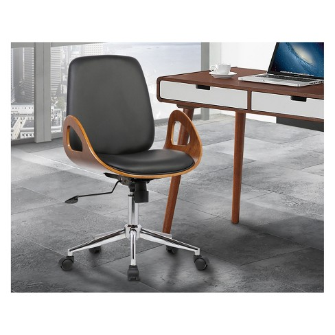 Wallace Mid Century Office Chair In Chrome Finish With Black Faux Leather And Walnut Veneer Back Armen Living Target
