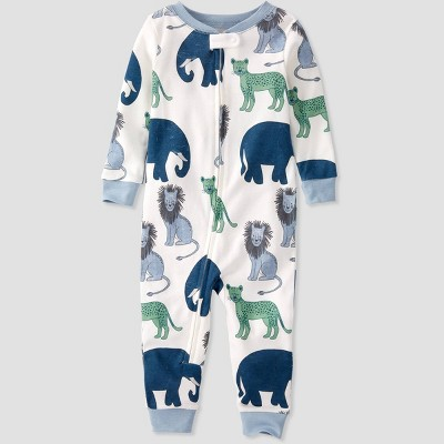 Toddler Boys' Organic Cotton Animals Sleep N' Play - little planet by carter's White/Blue