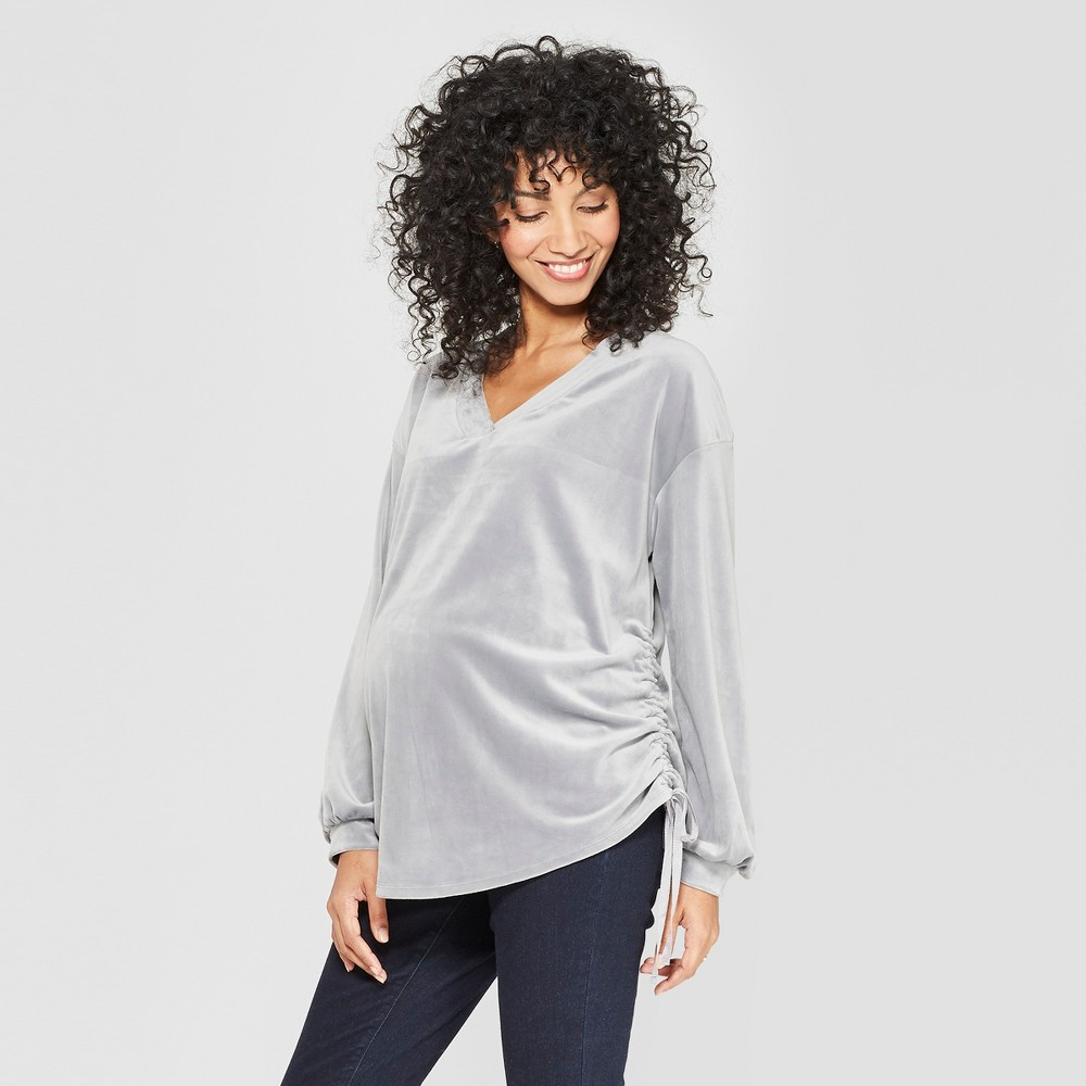 Maternity Velour Side Ruched V-Neck Pullover - Isabel Maternity by Ingrid & Isabel Gray M, Women's