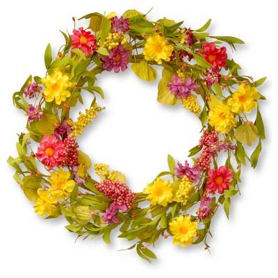 """Artificial Daisy Wreath Yellow 20"""" - National Tree Company"""