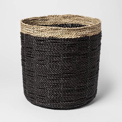 "14.9"" x 14.5"" Decorative Raffia Basket Black/Natural - Project 62™ - image 1 of 3"