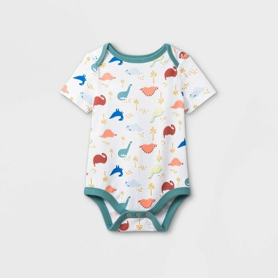 Baby Boys' Dino Short Sleeve Bodysuit - Cat & Jack™ White 0-3M