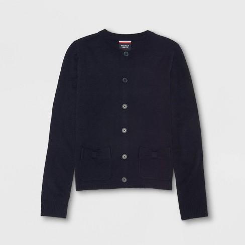 French Toast Girls' Knit Long Sleeve Bow Uniform Cardigan Navy - image 1 of 1