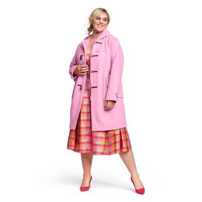 Women's Plus Size Long Sleeve Hooded Duffel Coat   Isaac Mizrahi For Target Pink by Isaac Mizrahi For Target Pink