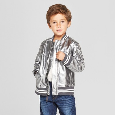 aaa34bf60a03 Genuine Kids® from OshKosh Toddler Boys' Metallic Bomber Jacket - Silver 18M