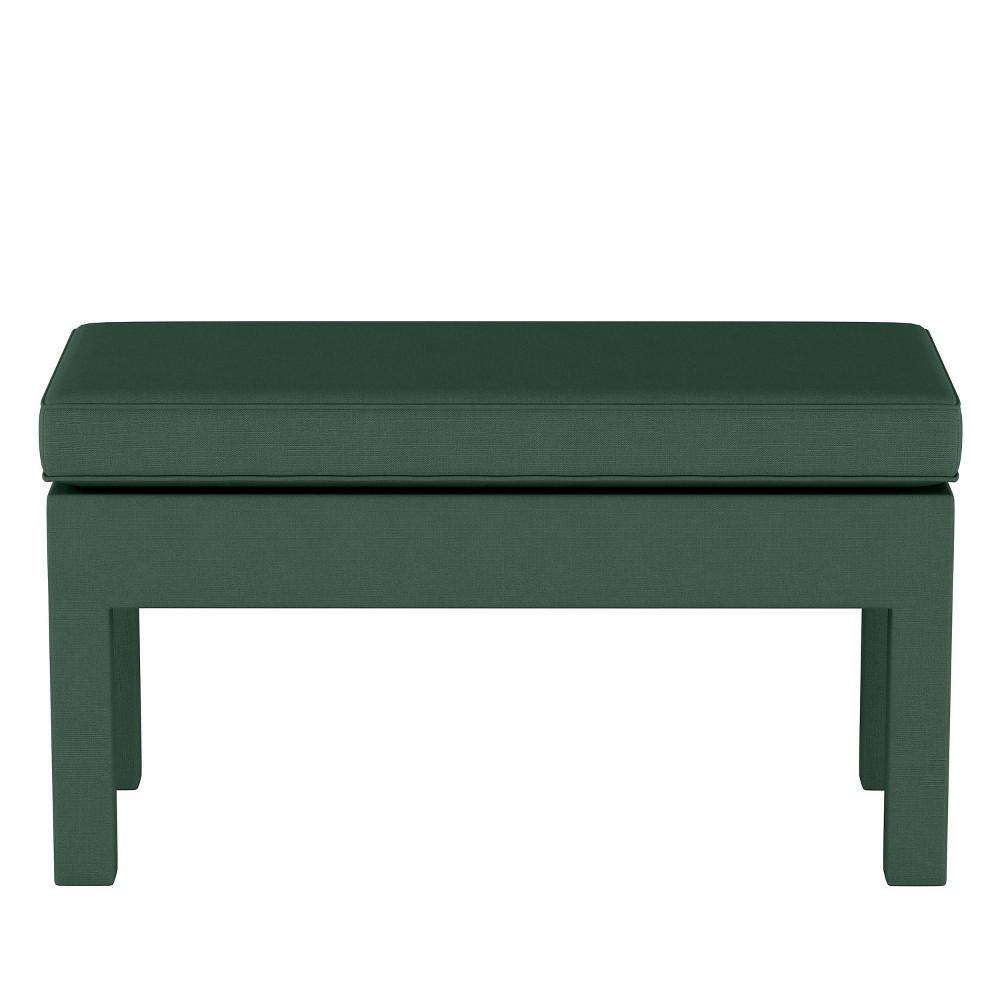Upholstered Bench in Linen Conifer Green - Threshold
