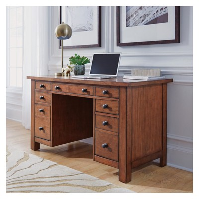 Tahoe Executive Pedestal Desk   Aged Maple   Home Styles