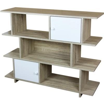 Home Basics 3 Tier Wood Display Book Shelf Organizer Unit with 2 Cabinet Doors (Oak)