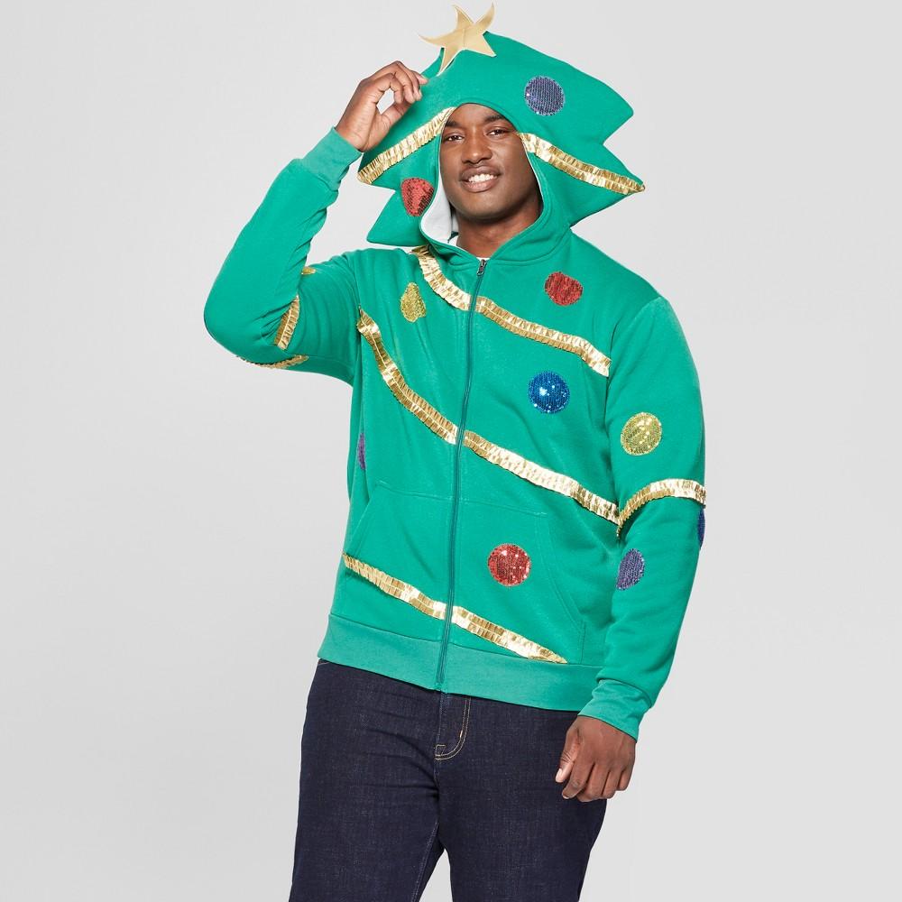 Men's Big & Tall Ugly Holiday Fleece Extreme Tree Trim Long Sleeve Sweatshirt - Green 5XBT