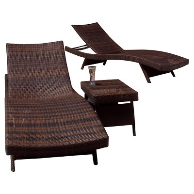 Salem 3pc Wicker Patio Adjustable Chaise Lounge Set - Brown - Christopher Knight Home