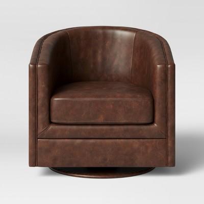 Berwick Barrel Swivel Chair Faux Leather Brown - Threshold™