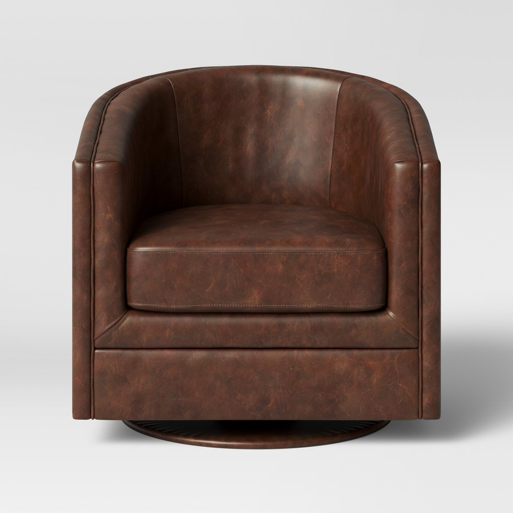 Marvelous Berwick Barrel Swivel Chair Faux Leather Brown Threshold Squirreltailoven Fun Painted Chair Ideas Images Squirreltailovenorg