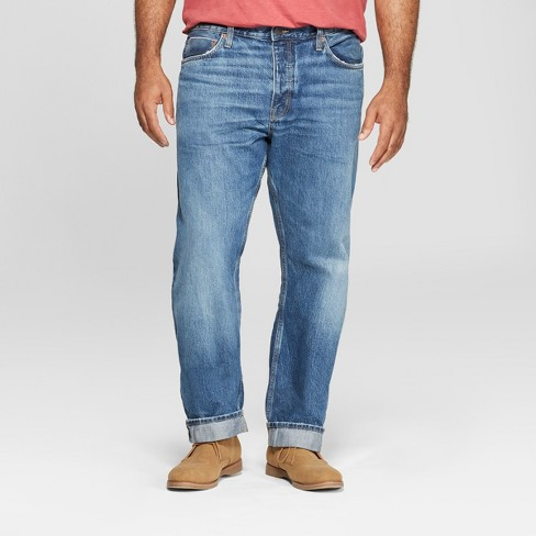 Men's Tall Slim Straight Fit Selvedge Denim Jeans - Goodfellow & Co™ Bright Blue - image 1 of 3