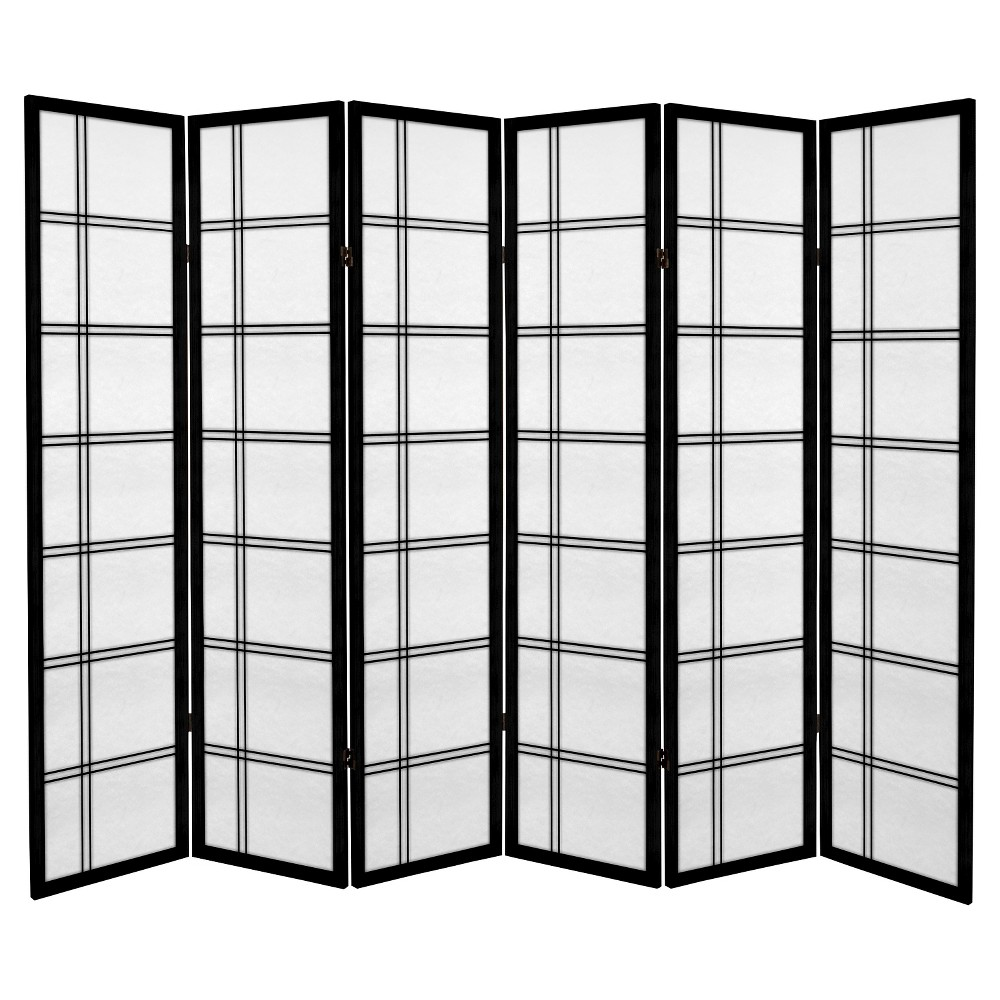 6 ft. Tall Canvas Double Cross Room Divider - Black (6 Panels)