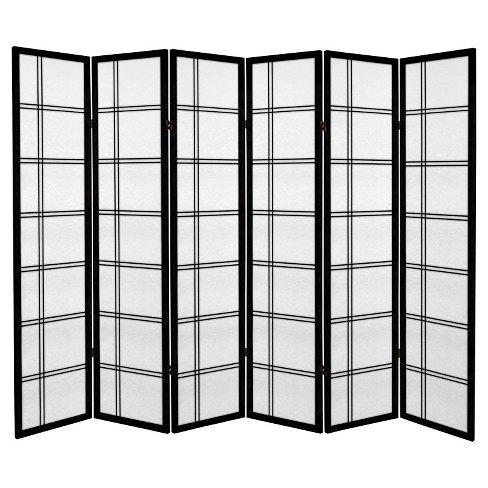 6 ft. Tall Canvas Double Cross Room Divider - Black (6 Panels) - image 1 of 1