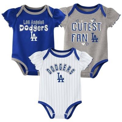 MLB Los Angeles Dodgers Baby Girls' 3pk Bodysuit Set